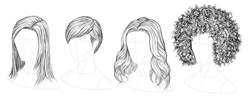 hairs Drawing step by step