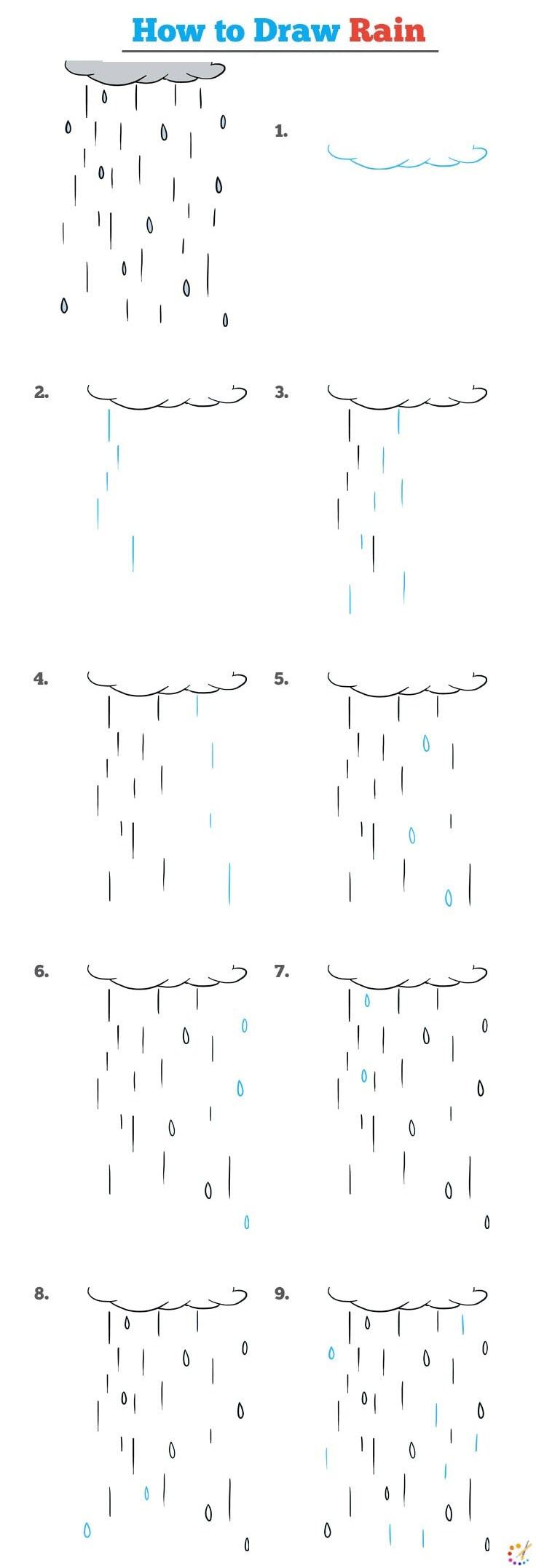 How to draw raining cloud