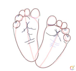 How to draw baby feet