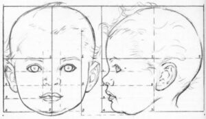 How to draw baby head