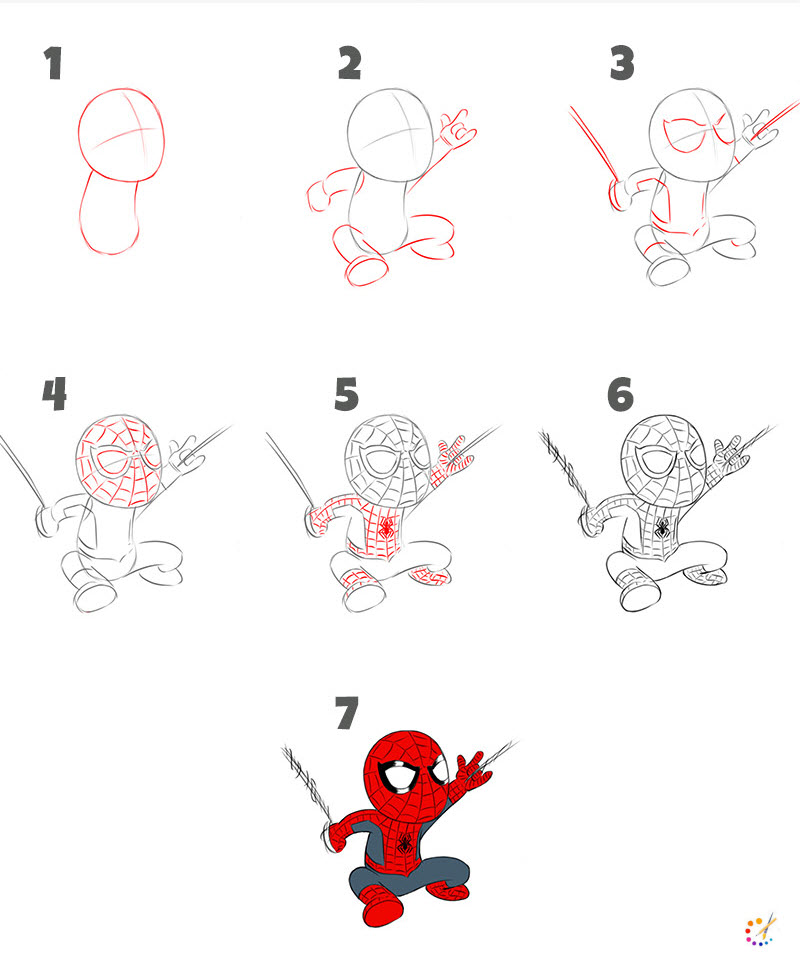 How to draw a spiderman