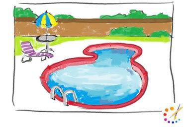 How to draw swimming pool